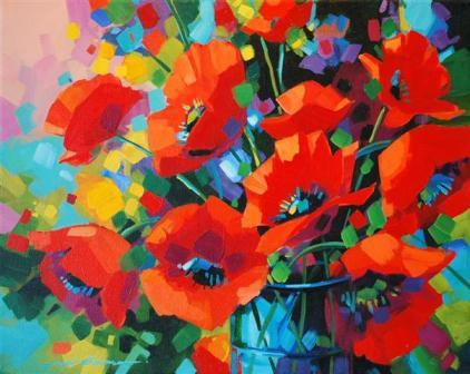 Acrylic flower paintings by jennifer w bowman fine art for Floral acrylic paintings