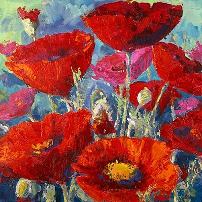 How to paint poppy flowers with acrylic paint and a for Acrylic paint mural