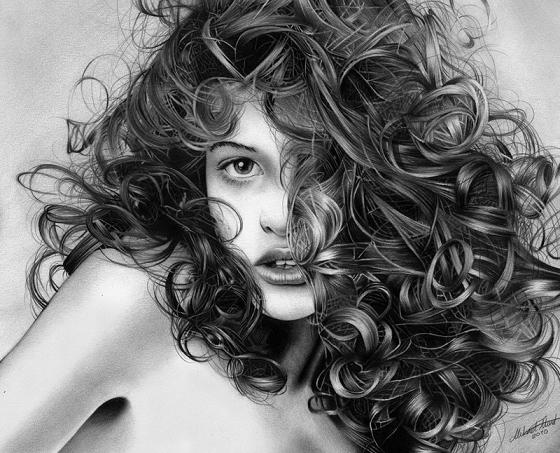 how to draw woman long hair in graphite pencils