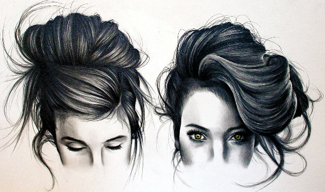 Realistic hair drawings