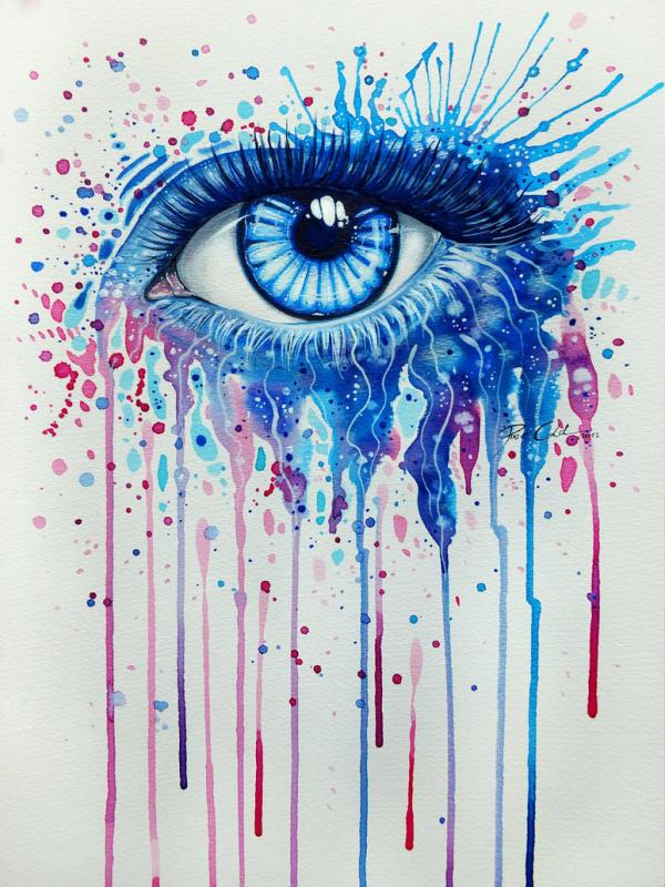Watercolor and acrylic paintings of eyes by svenja j dicke for Artist canvas paint color