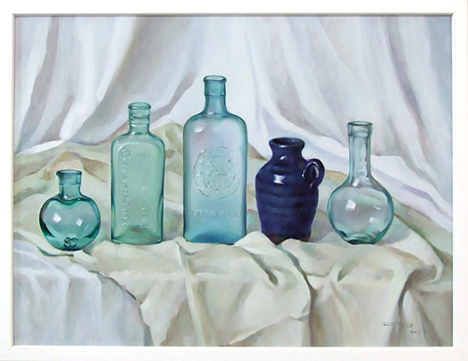 Oil paintings of glass bottles by zoe feng fine art blogger Painting old glass bottles