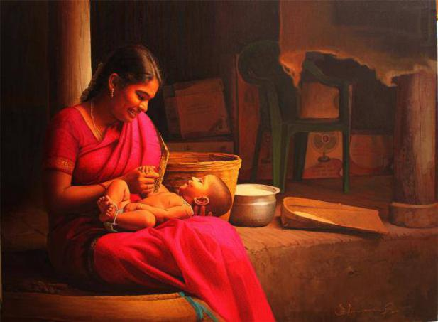 indian-mother-baby-painting